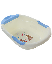 Baby Bath Tub Cute Angel Print - Cream And Blue