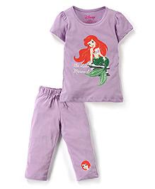 Disney by Babyhug Top And Capri Set Little Mermaid Print - Purple