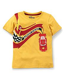 Disney by Babyhug Junior Racer Print T-Shirt - Yellow