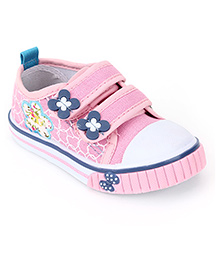 Cute Walk Casual Shoes With Velcro Closure Floral Applique - Pink