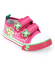 Cute Walk Casual Shoes With Velcro Closure Floral Applique - Bark Pink