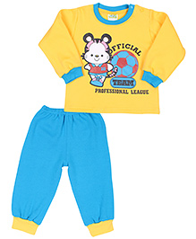 BabyHug Full Sleeves Tees & Pant Set With A Team League Print - Yellow