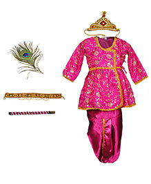 Little Krishna Frilly Krishna Costume Set With Accessories - Pink