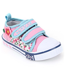 Cute Walk Casual Shoes With Velcro Closure Floral Aapplique - Pink Light Blue