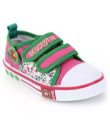 Cute Walk Casual Shoes With Velcro Closure Floral Aapplique - Pink Green
