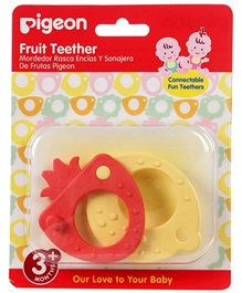 Pigeon Strawberry And Lemon Fruit Teether - Red And Yellow