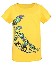 Imagica Half Sleeves T-Shirt Peacock Feathers Print - Yellow