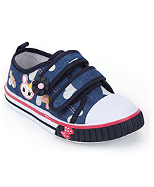 Cute Walk Embroidered Shoes - Navy Blue