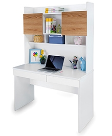 Alex Daisy Study Table - Brown And White
