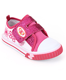 Cute Walk Floral Embroidery Shimmer Shoes - Fuchsia Pink