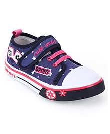Cute Walk Sneakers With Velcro Closure Floral Print - Pink