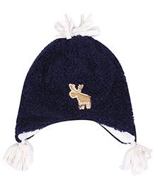Babyhug Bonnet Cap With Pom Pom - Navy Blue