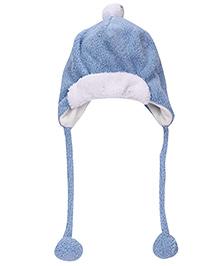 Babyhug Tie Knot Cap With Pom Pom - Blue