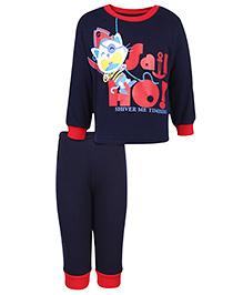 Babyhug Full Sleeves T-Shirt And Pant Kitty Print - Navy Blue