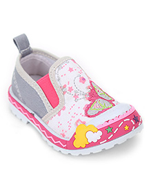 Cute Walk Butterfly Embroidered Slip-On Shoes - Grey
