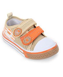 Cute Walk Shoes Dual Color Velcro Strap - Beige And Orange