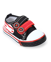 Cute Walk Shoes Dual Color Velcro Strap - Black And Red