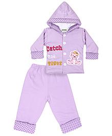 Babyhug Full Sleeves Winter Jacket With Bottom - Lavender