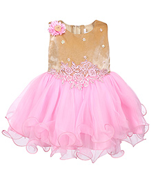 Babyhug Sleeveless Party Wear Frock With Velvet Bodice - Pink