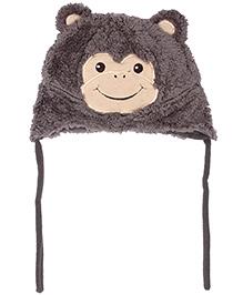 Babyhug Tie Knot Cap Monkey Pattern - Dark Grey