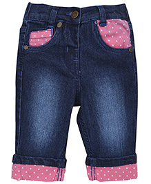 Babyhug Denim Capri With Contrast Dotted Prints - Dark Blue