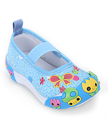 Cute Walk Slip-On Embroidered Shoes Single Strap - Blue