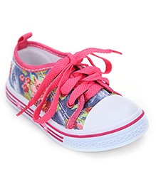 Cute Walk Floral Print Lace Up Shoes - Fuchsia Pink