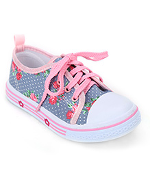 Cute Walk Floral Print Shoes - Grey And Pink