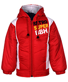 Babyhug Full Sleeves Jacket With Hood - Red And White
