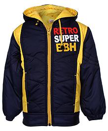 Babyhug Full Sleeves Jacket With Hood - Blue And Yellow