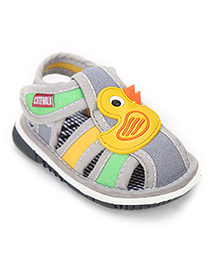 Cute Walk Baby Sandals Duck Applique - Grey