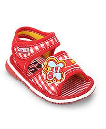 Cute Walk Butterfly Applique Sandals - Red
