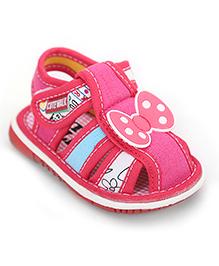 Cute Walk Bow Tie Applique Sandals - Fuchsia Pink