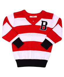 Fox Baby Striped Full Sleeves Sweater - Red