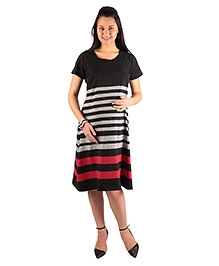 Morph Striped Maternity Dress - Black