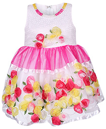 Babyhug Sleeveless Party Wear Frock Pearl Studded Neckline Detail - White & Pink