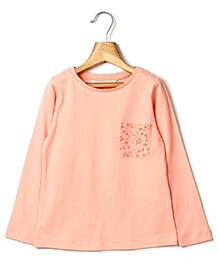 Beebay Round Neck Top With Laced Pocket - Peach
