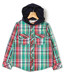 Beebay Hooded Check Shirt - Green