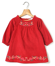 Beebay Long Sleeves Corduroy Dress With Embroidery - Maroon