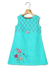 Beebay Bow Corduroy Dress Flower Embroidery - Turquoise