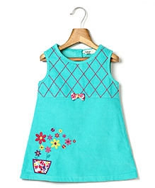 Beebay Corduroy Dress Flower Embroidery - Turquoise