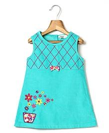 Beebay Corduroy Dress Flower Embroidery - Turquoise