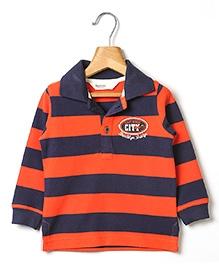 Beebay Striped Pique Polo T-Shirt - Navy Blue