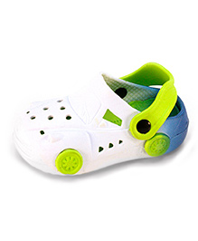 Frisky Shoes Clogs With Back Strap Car Design  - White