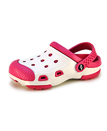 Frisky Shoes Clogs With Back Strap - White And Fuchsia