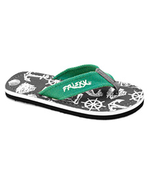Frisky Shoes Flip Flops Anchor Print - Grey And Green