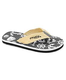 Frisky Shoes Flip Flops Anchor Print - Grey And Cream