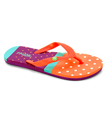Frisky Shoes Flip Flops Polka Dot Pattern - Orange Se Green Purple
