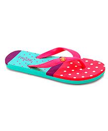 Frisky Shoes Flip Flops Polka Dot Pattern - Pink Sea Green Purple