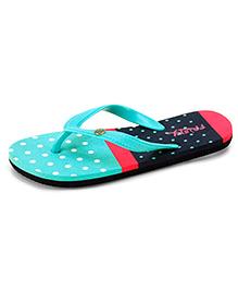 Frisky Shoes Flip Flops Polka Dot Pattern - Sea Green Pink  Navy